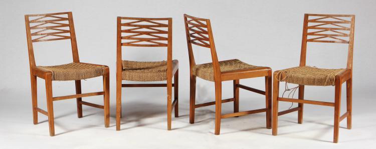 Quattro sedie in acacia robinia e corda per Fratelli Scremin Belluno, anni 40