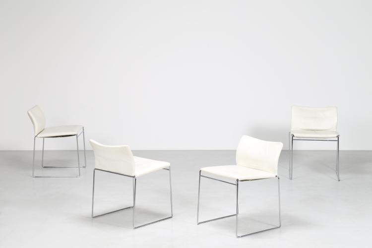 Quattro sedie in acciaio cromato e pelle prod. SIMON GAVINA, anni 70