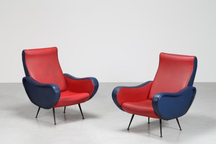 Coppia poltrone struttura in metallo rivestimento in skai rosso e blu, anni 50°