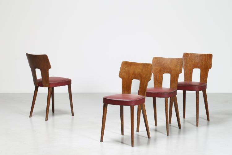 Quattro sedie in faggio curvato e skai, anni 50