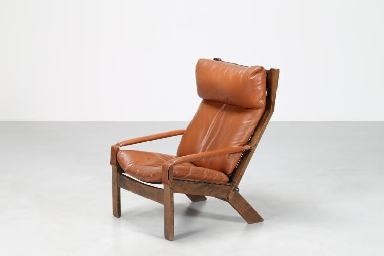 Poltrona relax in faggio e pelle, anni 60