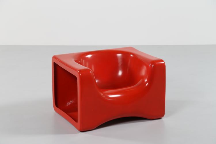 Poltrone Play in fibra di vetro rossa per, Saporiti, anni 60