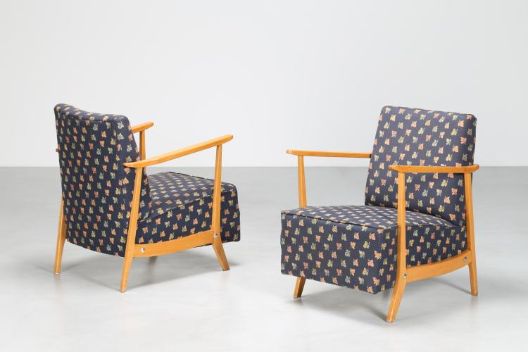 Coppia di poltroncine in legno e tessuto, anni 50