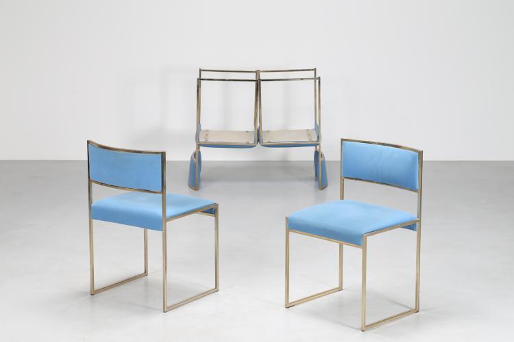 Quattro sedie in metallo dorato e stoffa, anni 70°