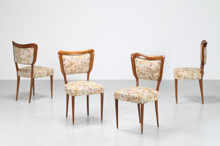 Quattro sedie in faggio e tessuto, anni 50°