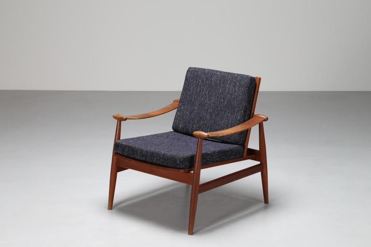 Poltrona relax in legno e tessuto, mod. 138, per France & Son, anni 60