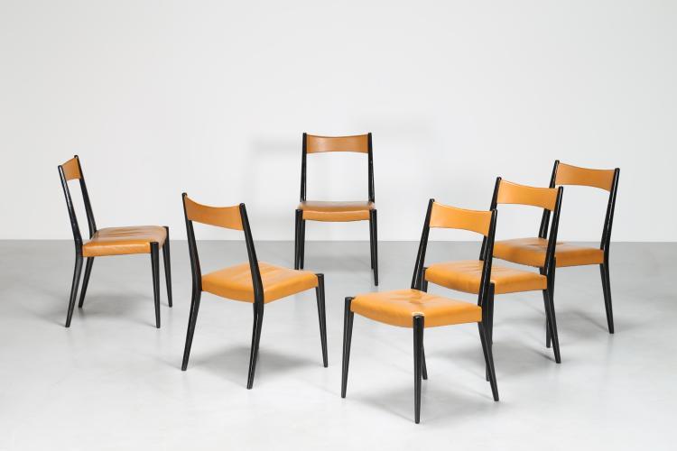 Sei sedie da pranzo in legno di rosa e sky color cognac, per Wiesner-Hager, anni 50 Pubblicazioni; Eva B. Ottilinger Möbeldesign d. 50 er Jahre, pag. 136
