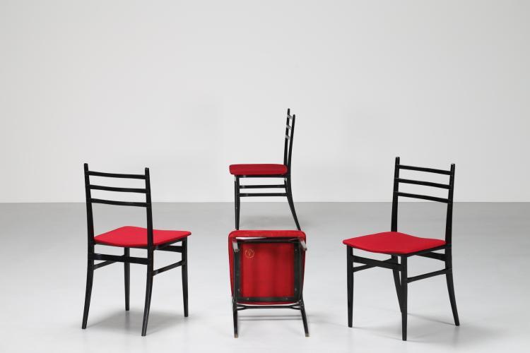 Quattro sedie In legno laccato nero e tessuto, per Saffa, Trieste anni 60