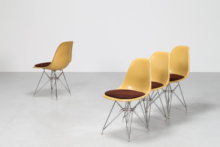 Quattro sedie in alluminio e vetroresina per Herman Miller, anni 50