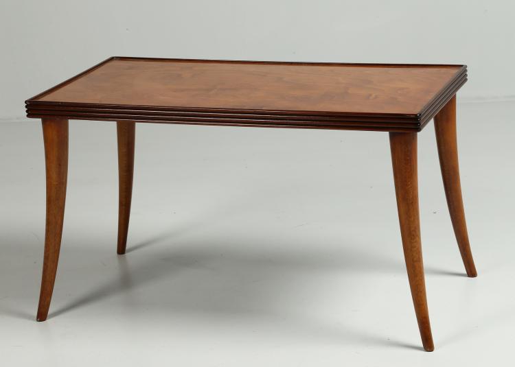 Tavolino rettangolare in acero e palissandro, anni 40
