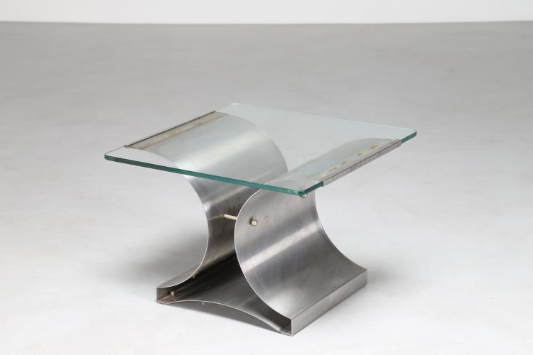 Attrib. avolino da caffè in acciaio sagomato e piano in vetro, per Kappa, anni 70
