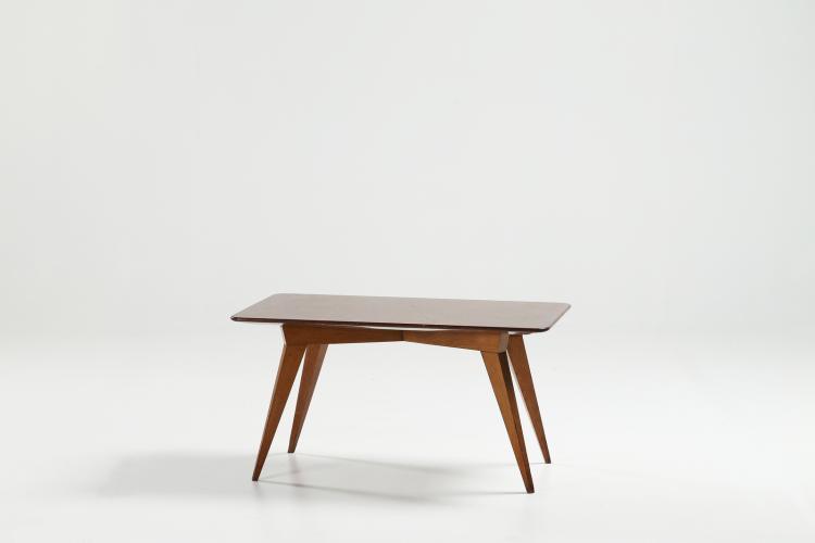 Tavolino da caffè in rovere con piano in marmo, anni 50.