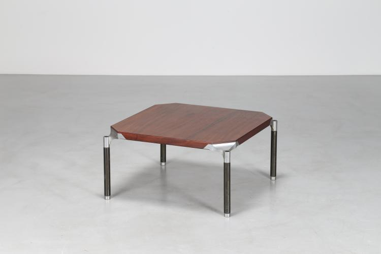 Tavolino in palissandro matallo laccato e acciaio, per MIM Roma, anni 60