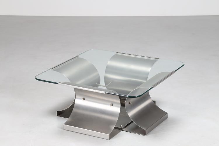 Attrib. Tavolino da caffè in acciaio sagomato e piano in vetro, per Kappa, anni 70