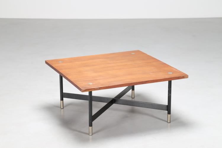 Tavolino da caffè in teak, metallo cromato e laccato, anni 50