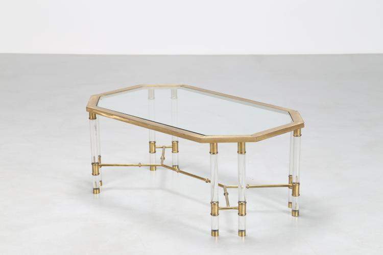 Tavolino in plexiglas, ottone e piano in cristallo, anni 70