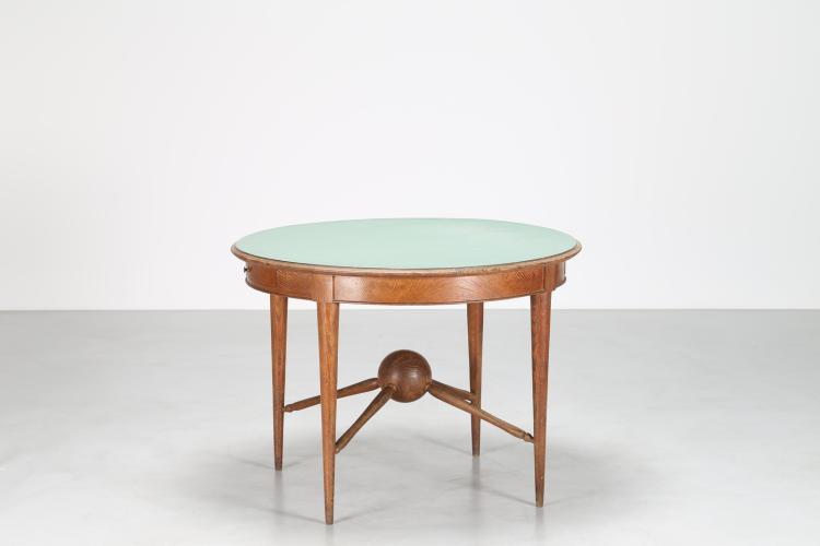 Tavolo rotondo in rovere con piano in formica, anni 50