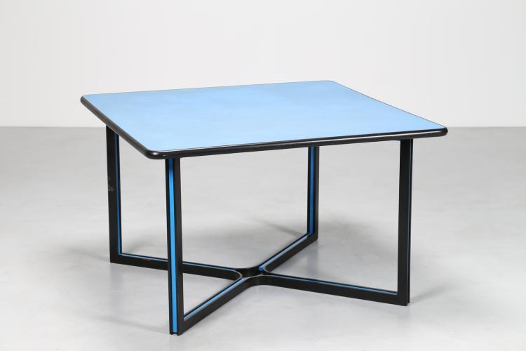 Tavolo in metallo laccato nero e azzurro, con piano in laminato, per Thema, anni 70