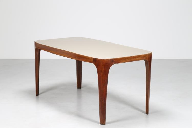 Tavolo in noce nazionale con piano in vetro, anni 50°
