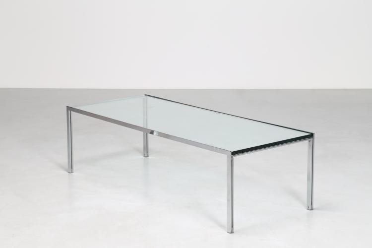 Tavolino da caffè in acciaio cromato con piano in cristallo, per ICF ITALIA, anni 60