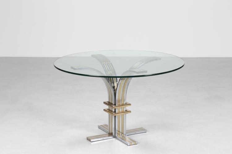 Attrib. Tavolo in acciaio cromato e ottone con piano in cristallo, anni 70