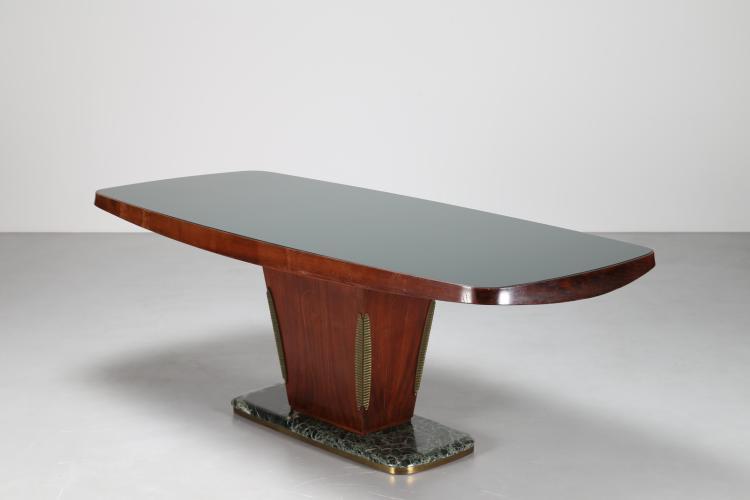 Tavolo da pranzo in palissandro con piano in vetro e dettagli in ottone, anni 50