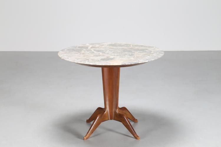 Tavolo in noce con piano in marmo, anni 50°