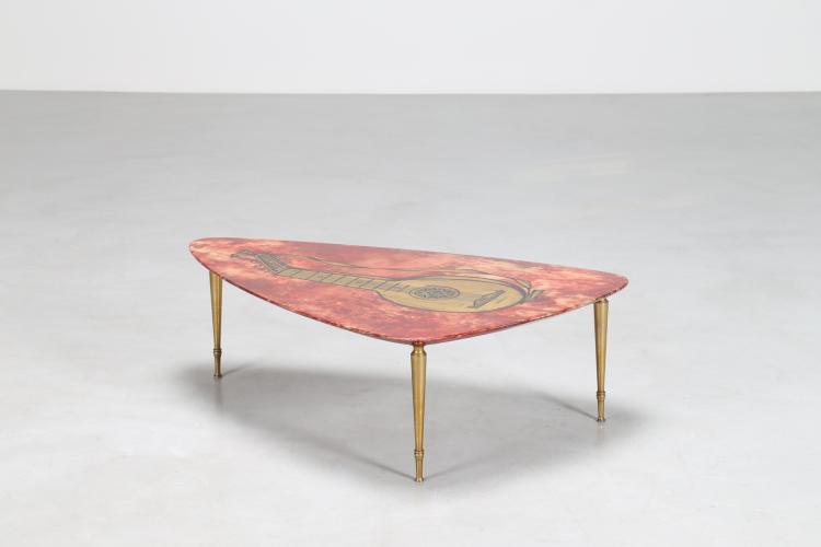 Tavolino in legno pergamena e ottone, per Tura Milano, anni 50