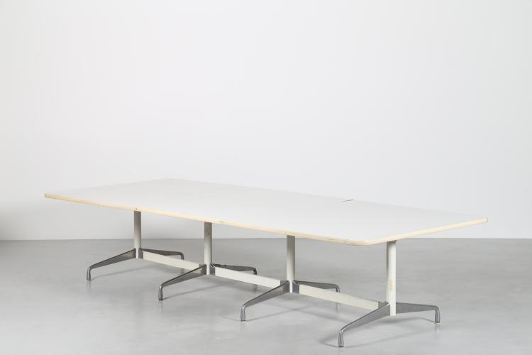 Grande tavolo riunioni in metallo cromato e legno PVC, per Herman Miller, anni 70
