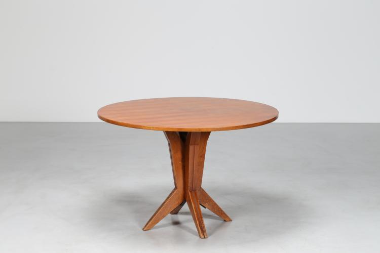 Tavolo rotondo in noce , anni 50