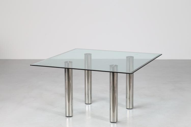 Tavolo in acciaio cromato e vetro, serie Marcuso , per Zanotta, anni 70°