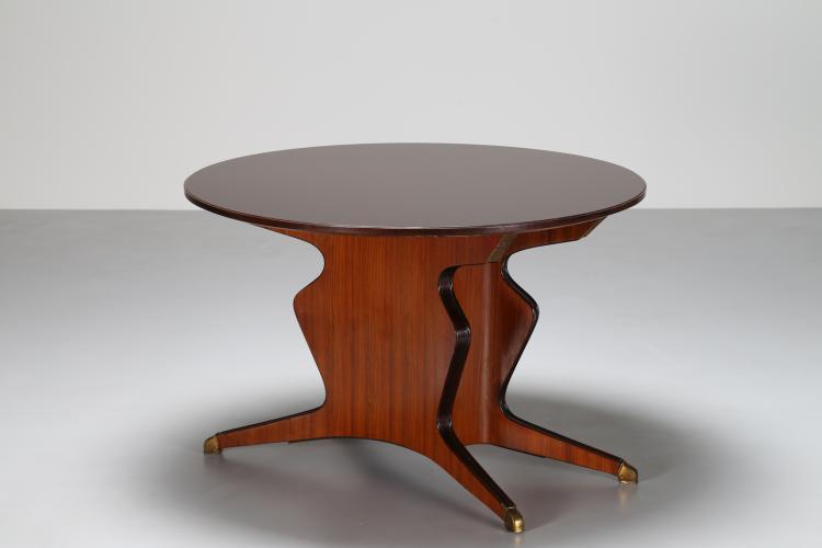 Tavolo in palissandro e dettagli in ottone, versione tondo, anni 50