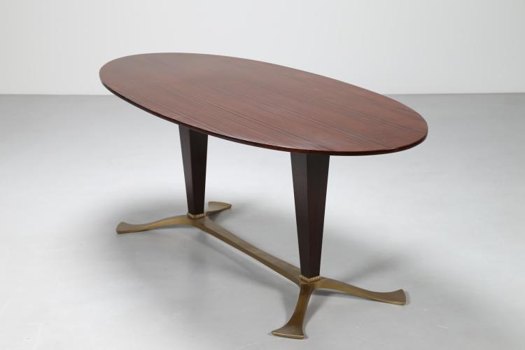 Tavolo da pranzo in palissandro e alluminio dorato, anni 50