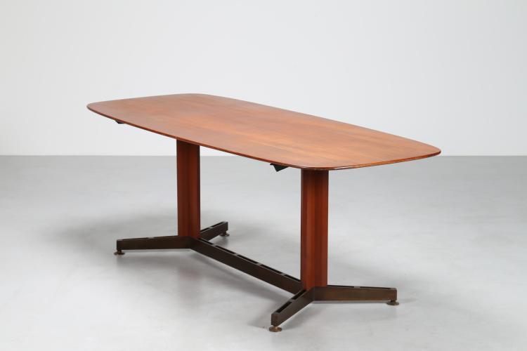 Tavolo in teak e ottone, anni 50°