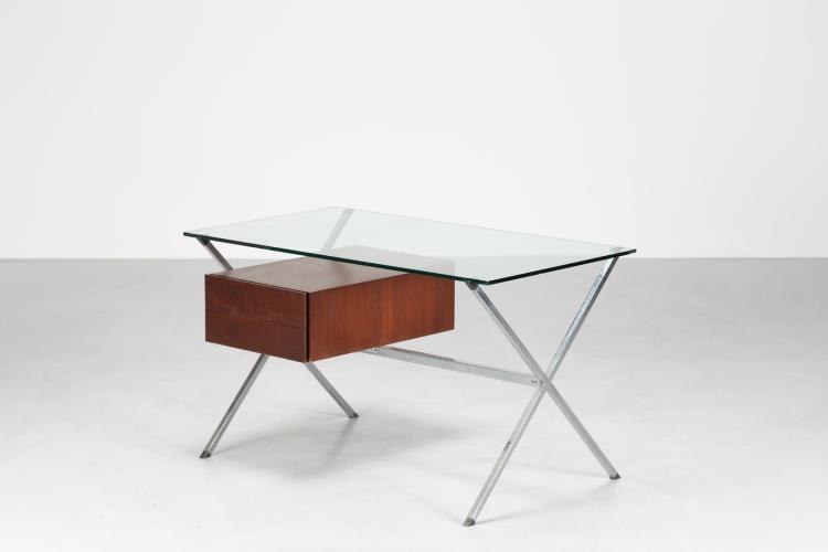 Scrittoio in tubolare d'acciaio quadrato cromato contenitore in palissandro e piano in cristallo trasparente, per Knoll International, anni 70