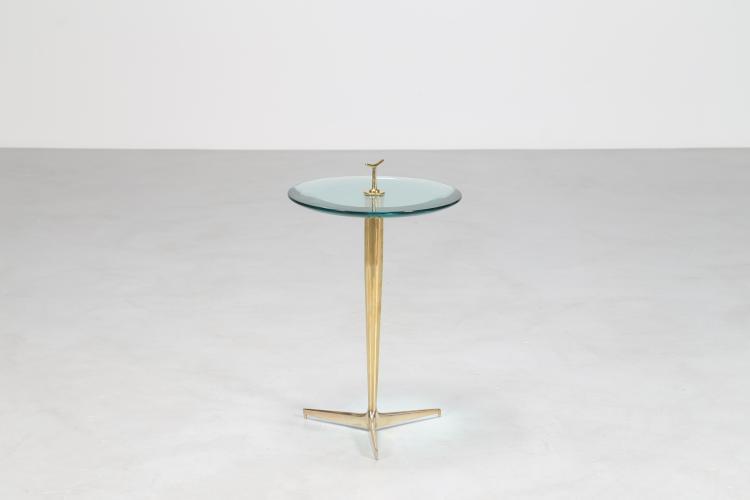 Tavolino in ottone e vetro massello, anni 70°