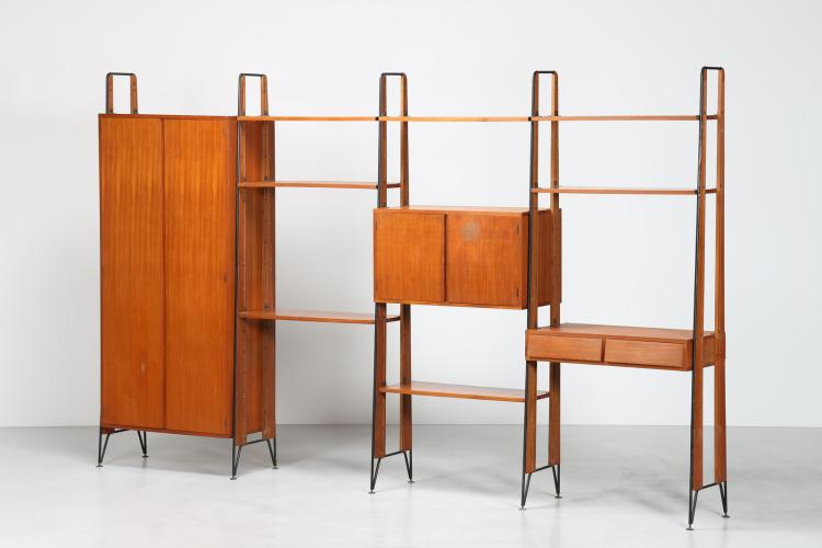 Libreria componibile in legno teak tondino di ferro laccato e ottone, per Cantieri Magugliani, anni 50