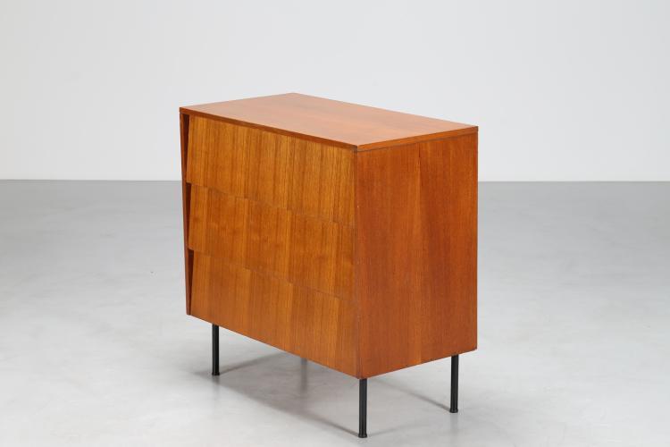 Scrittoio a ribalta in legno di teak e tondino di ferro laccato, produzione Isa Ponte S. Pietro Bergamo, anni 60