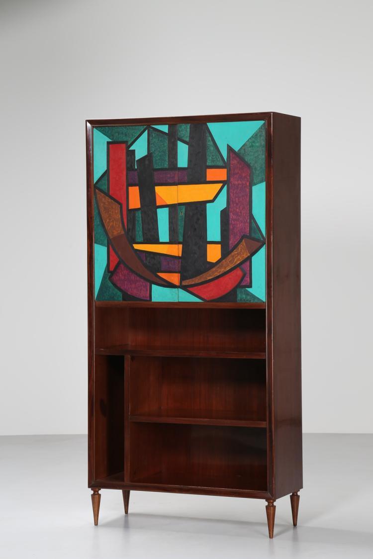 Attrib. Libreria in mogano con ante dipinte da Osvaldo Mediel del Vascello, anni 50