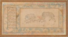 Islamic Art A Persian drawing in the style of Mohammad Siyah Kalam (signed by)