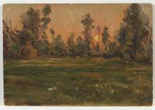 AVONDO VITTORIO (1836 - 1910) Wooded landscape at sunrise.