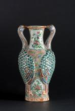 Arte Cinese A Canton style pottery vase moulded with phoenixes in relief China, Qing dynasty, 19th century