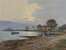 VERNI ARTURO (1891 - 1960) Lake landscape with characters.