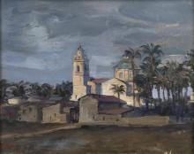 VERNI ARTURO (1891 - 1960) Landscape with church and houses.