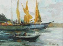 VERNI ARTURO (1891 - 1960) Seascape with boats and characters.