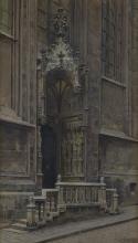 GRANER ERNST (1865 - 1943) Entrance of gothic church.