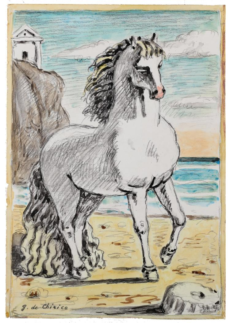DE CHIRICO GIORGIO (1888 - 1978) Horse on the beach.