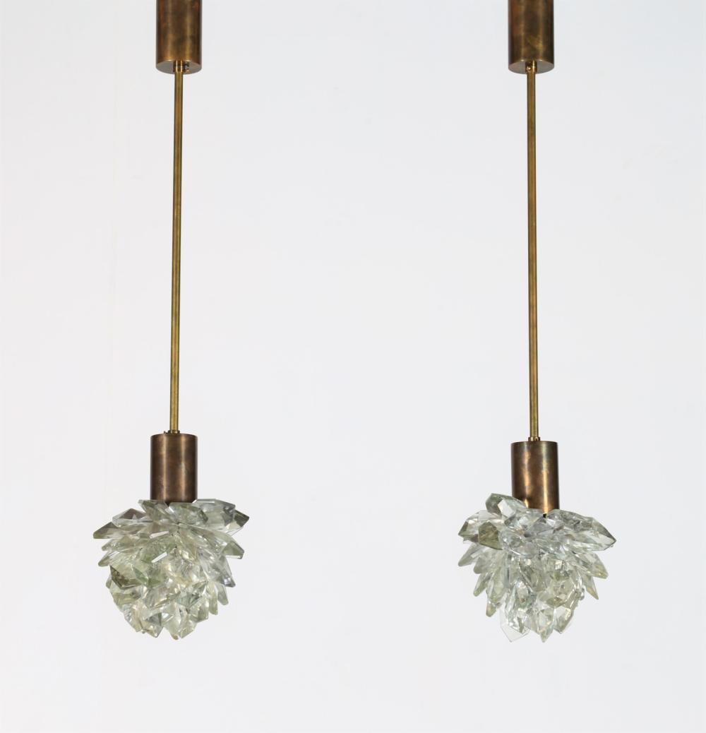 ITALIAN MANUFACTURE Pair of ceiling lamps