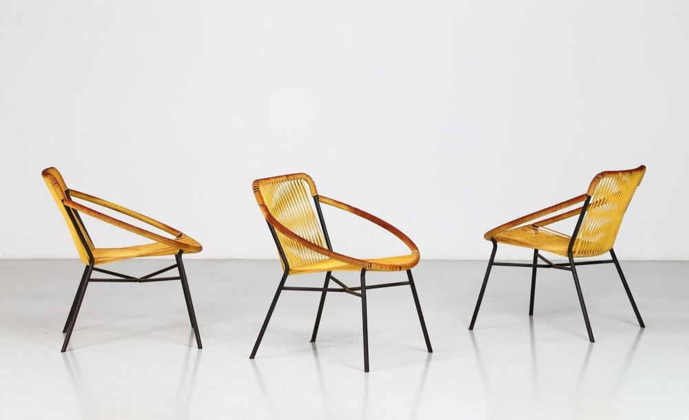 ITALIAN MANUFACTURE Three garden armchairs