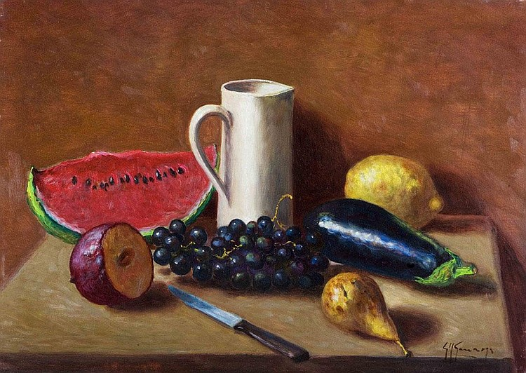 Frutti in un interno con brocca Autentica